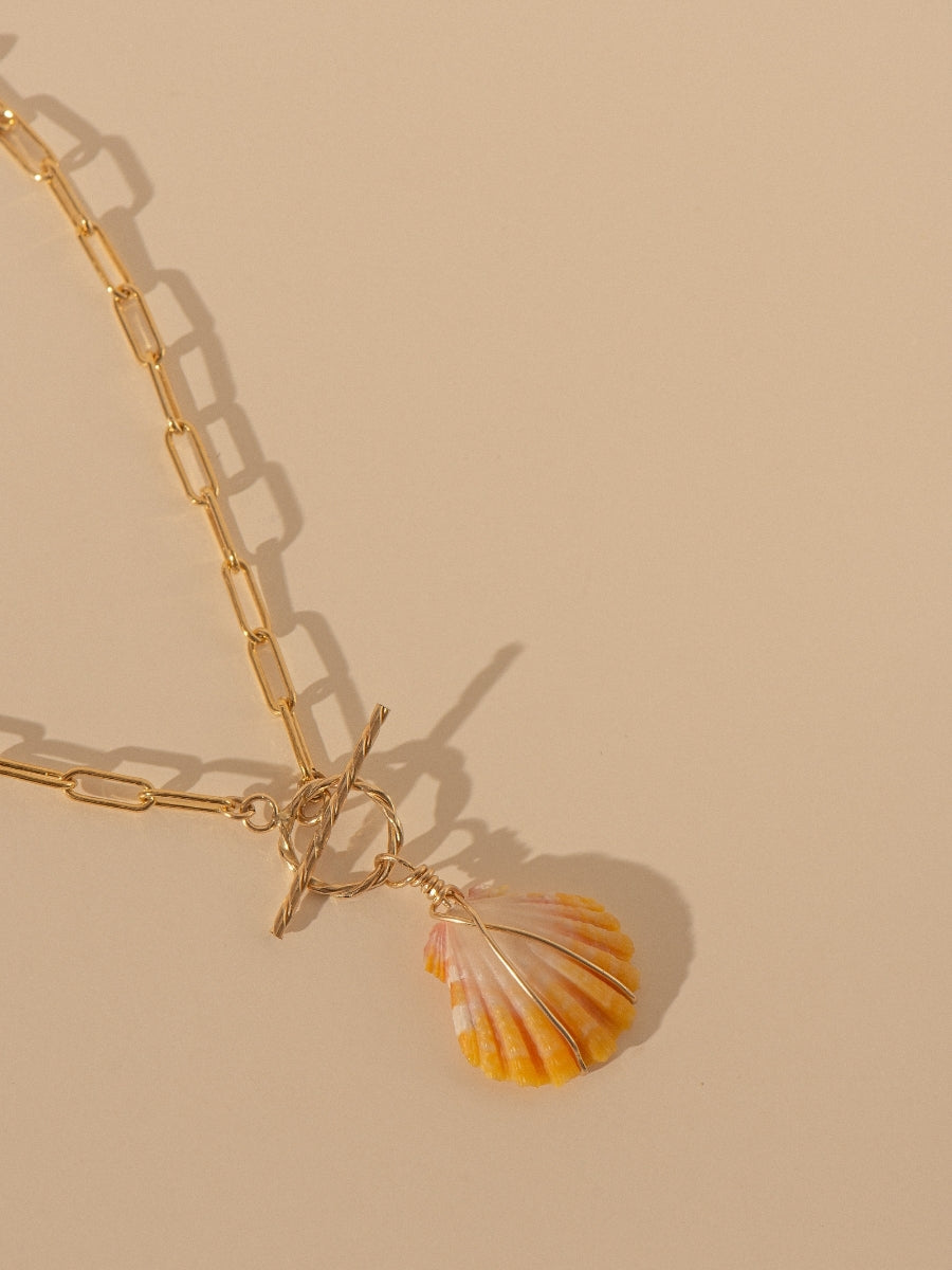 Gold Sunrise Shell Clip Chain Necklace