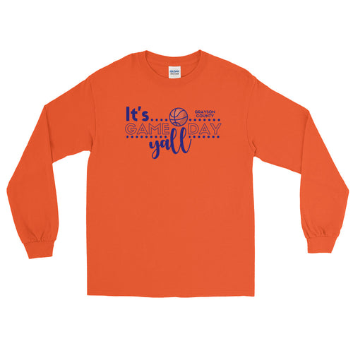 Basketball Gameday (Grayson County) LS T-Shirt - Blue - Long Sleeved T-Shirt - The Brown Barrel