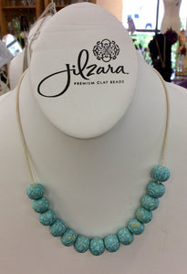 Jilzarah Cerulean Blue Bead Long Leather Necklace