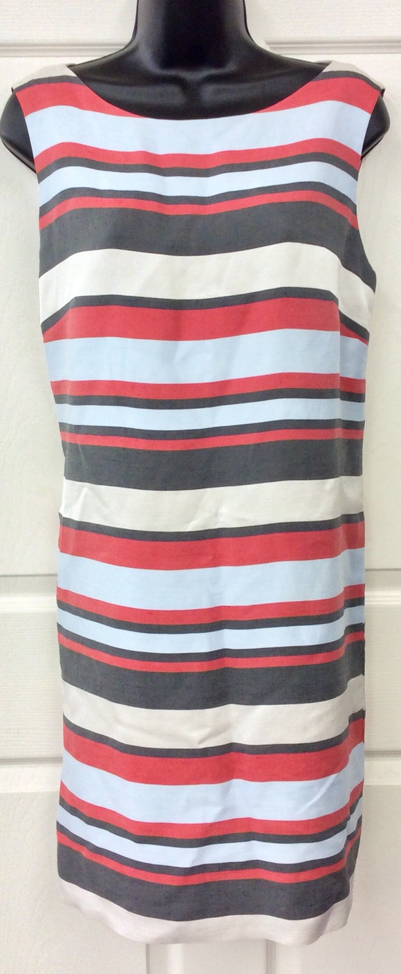 W by Worth Striped Sleeveless Lined Sheath Dress Size 12