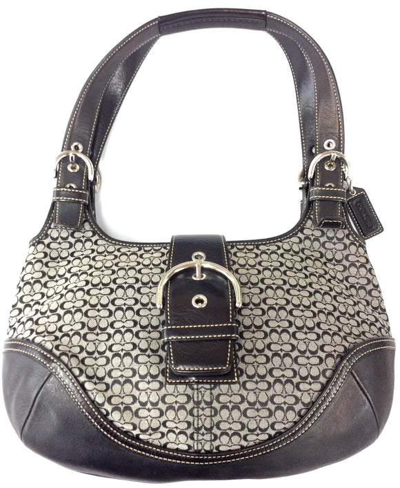 Coach Canvas Jacquard Signature Small Hobo Handbag
