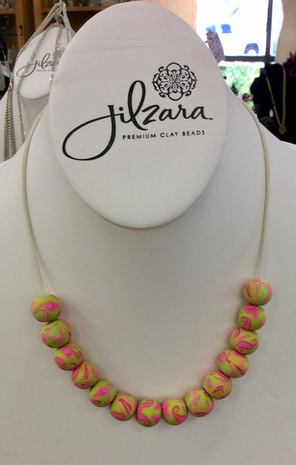 Jilzarah Paisley Pink Bead Long Leather Necklace