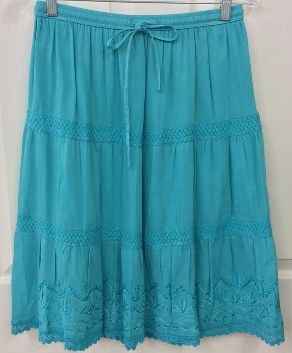 Studio West Apparel Turquoise Blue Embroidered Crochet Boho Skirt Size PM