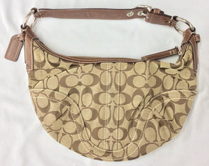 Coach Signature Soho Collection Canvas Jacquard and Leather Hobo Bag