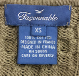 Faconnable Olive 100% Cotton Zipper Front Sweater Size XS