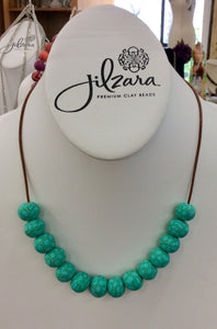 Jilzarah Summer Cottage Bead Long Leather Necklace