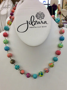 Jilzara Handmade Polymer Clay Fresco Bead Adjustable Link Necklace