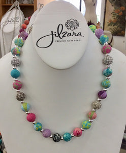 Jilzara Blossom Medium Polymer Clay Beads Silverball Necklace