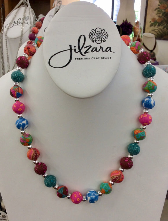 Jilzara Mosaic Medium Polymer Clay Beads Silverball Necklace