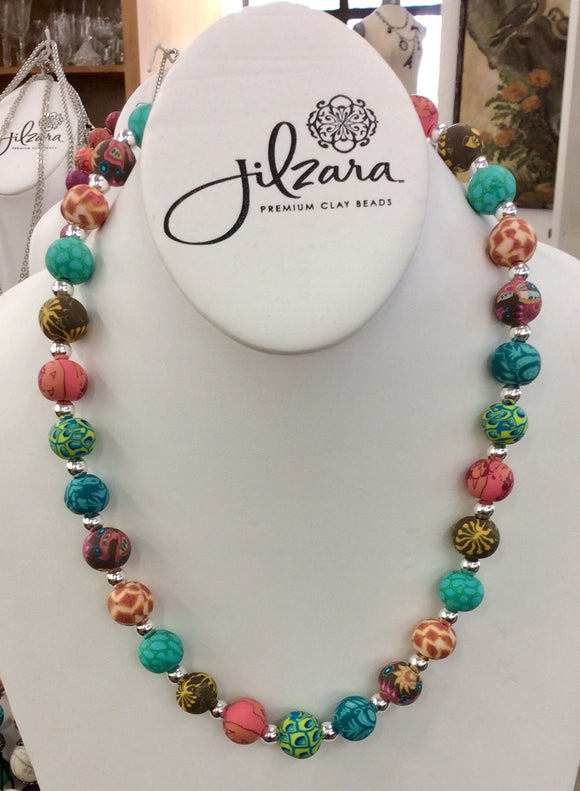 Jilzara Persian Tile Medium Polymer Clay Beads Silverball Necklace