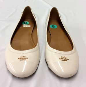 Coach White Leather Closed Toe Chelsea Ballet Flats Shoes 8M