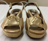 Sofft Women's Gold Metallic Leather Slingback Wedge Sandals Size 7.5M
