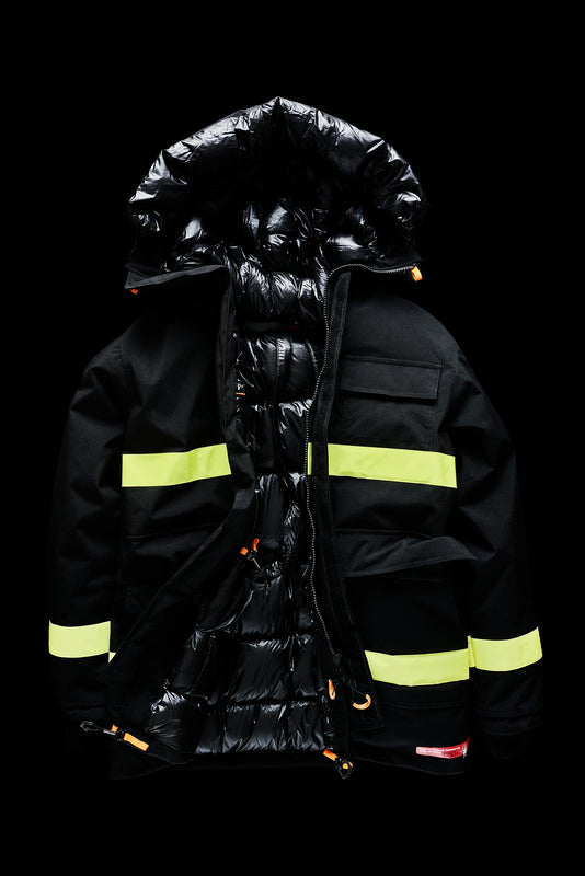 DOWN PARKA WITH REFLECTIVE TAPES-BLACK