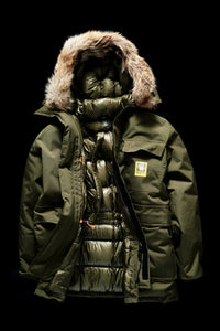 DOWN PARKA WITH FUR TRIM- KHAKI