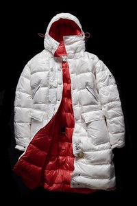 DOWN PARKA- WHITE AND RED