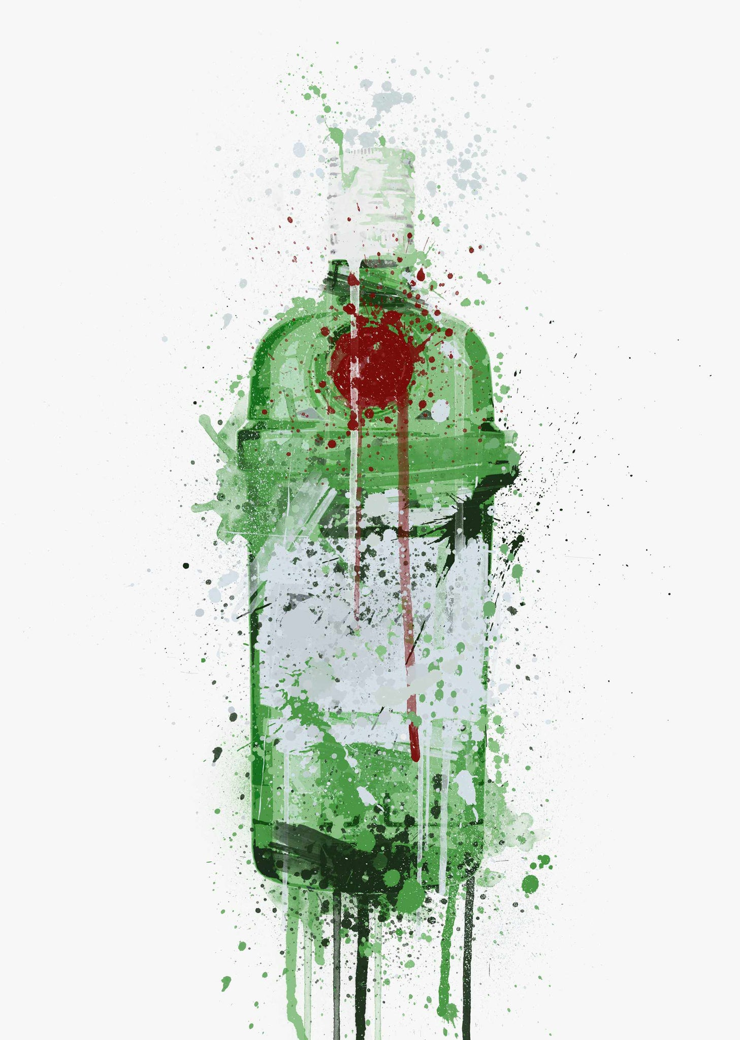 Gin Bottle Wall Art Print 'Emerald'