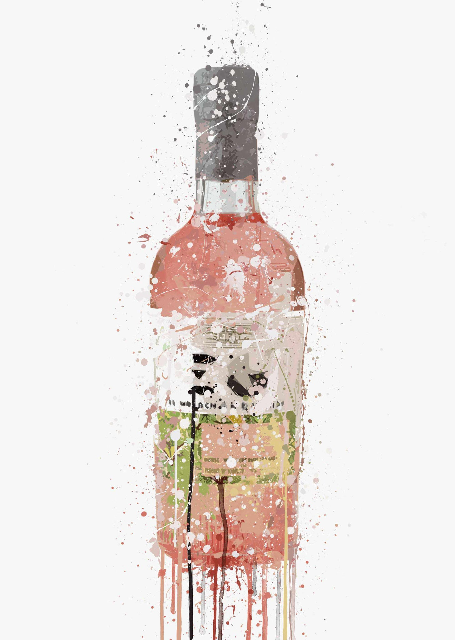 Gin Bottle Wall Art Print 'Soft Pink'