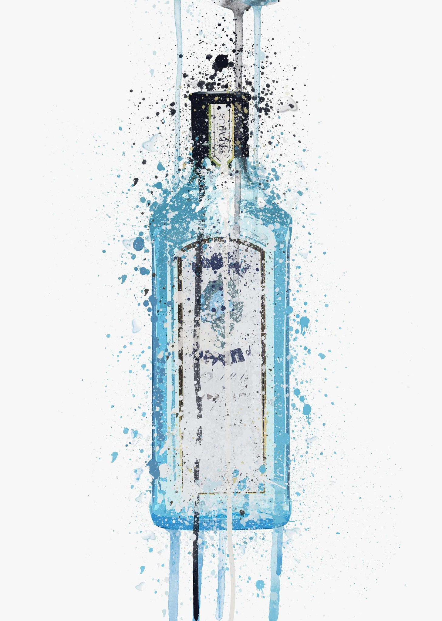 Gin Bottle Wall Art Print 'Ocean Blue'