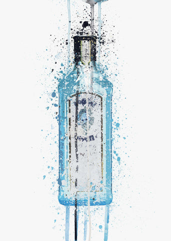 Gin Bottle Wall Art Print 'Ocean Blue'-We Love Prints
