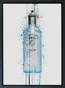 Premium Canvas Wall Art Print Gin Bottle 'Ocean Blue'-We Love Prints