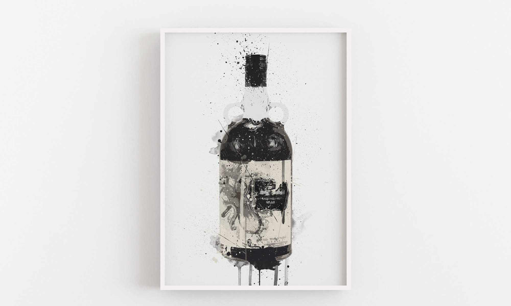 Rum Bottle Wall Art Print 'Black Squid'