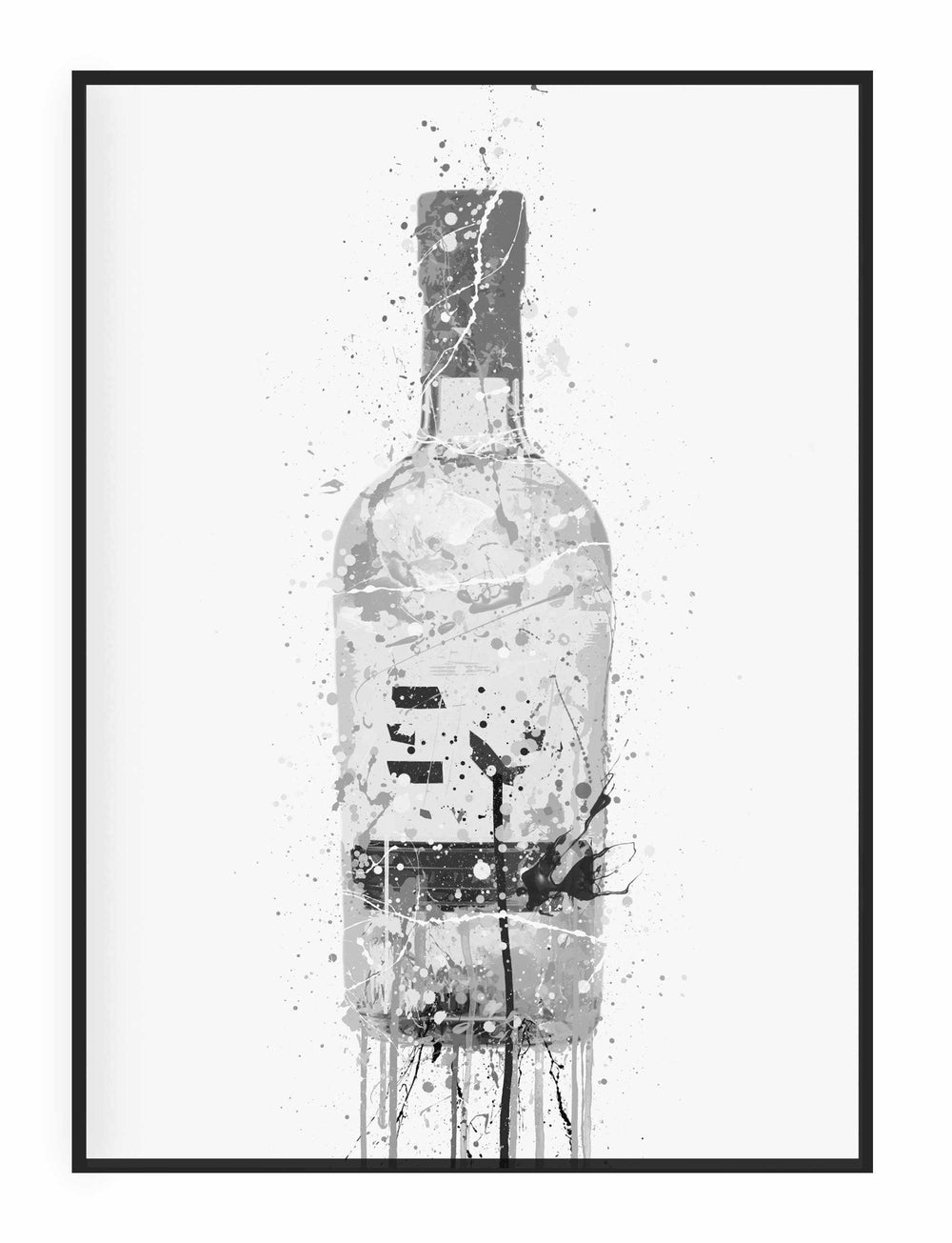 Gin Bottle Wall Art Print 'Grey Marble'