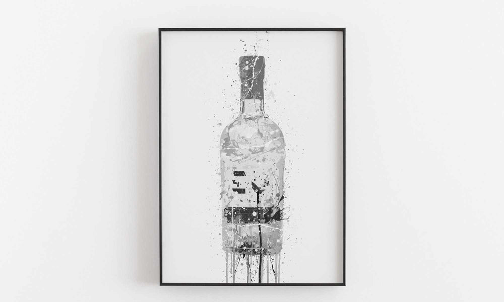 Gin Bottle Wall Art Print 'Grey Marble'-We Love Prints