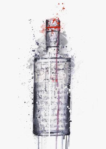 Gin Bottle Wall Art Print 'Steel Grey'-We Love Prints
