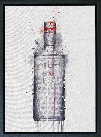 Premium Canvas Wall Art Print Gin Bottle 'Steel Grey'-We Love Prints