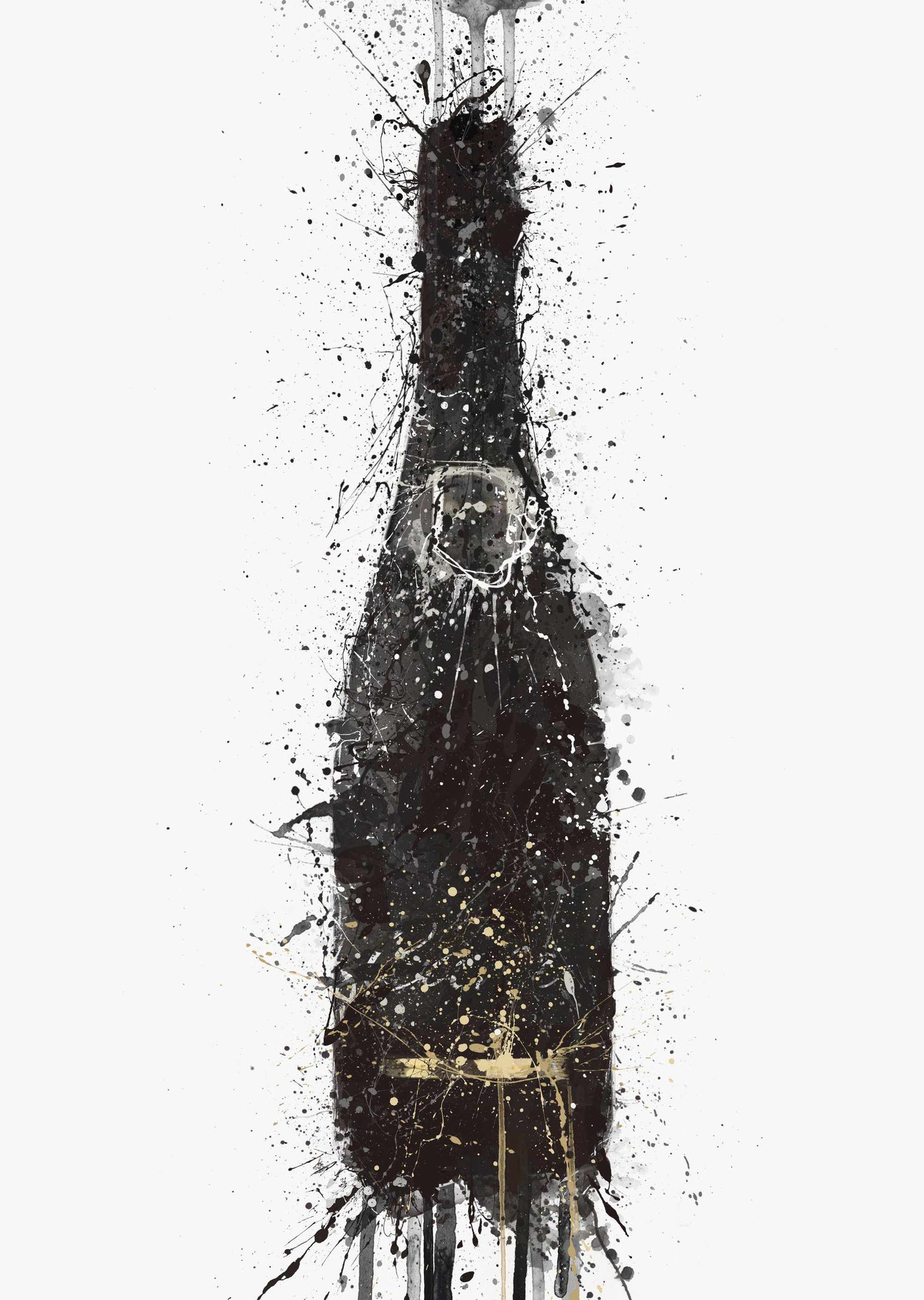 Champagne Bottle Wall Art Print 'Black Fizz'-We Love Prints
