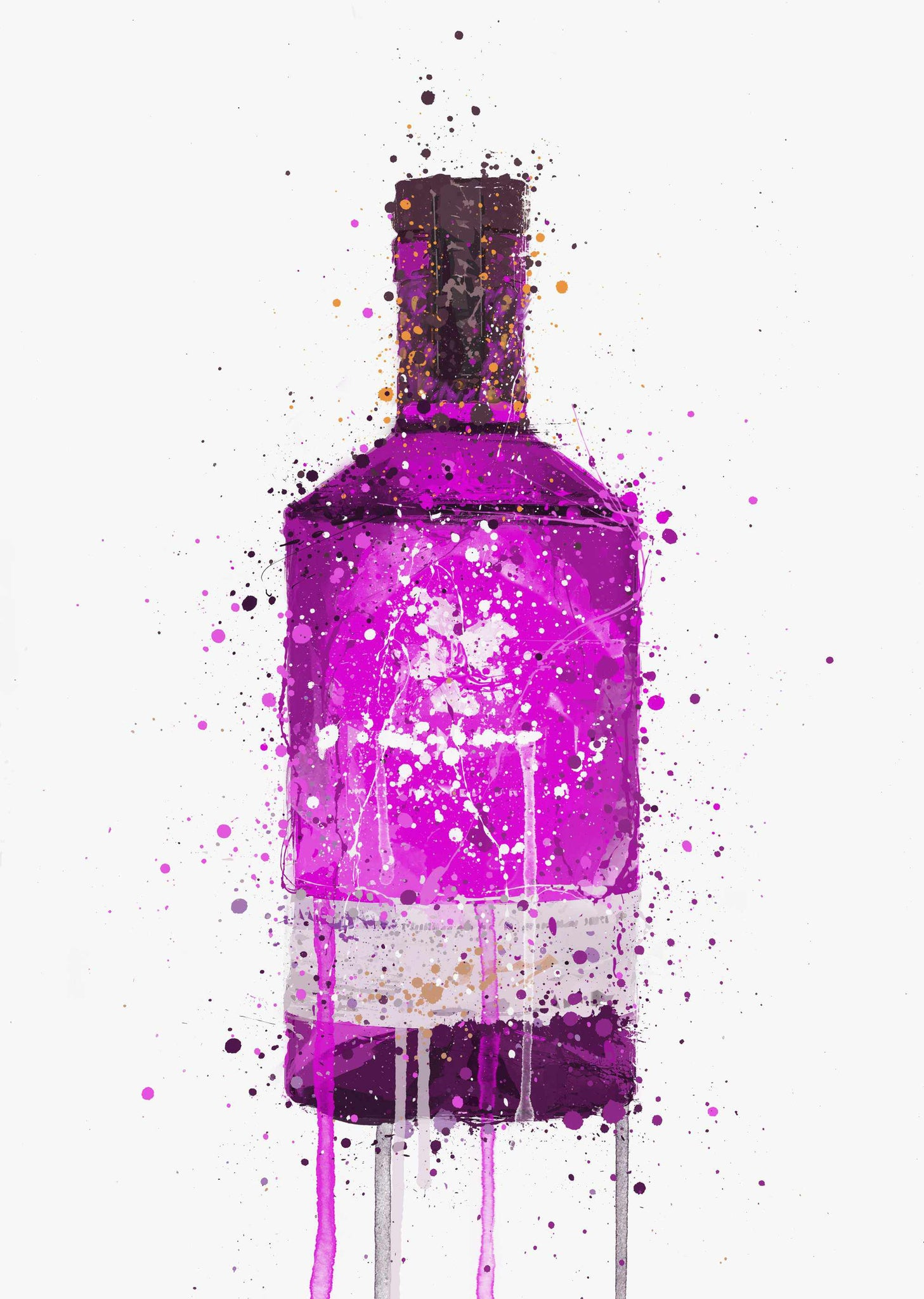 Gin Bottle Wall Art Print 'Magenta'