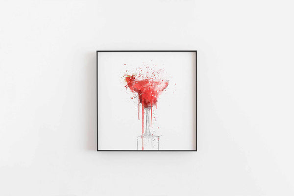 Strawberry Daiquiri Cocktail Wall Art Print