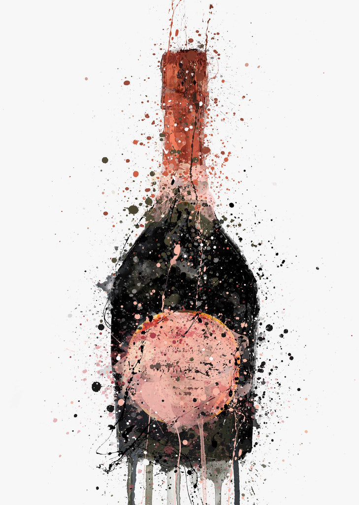 Champagne Bottle Wall Art Print 'Rosy'