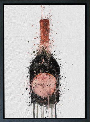 Premium Canvas Wall Art Print Champagne Bottle 'Rosy'-We Love Prints
