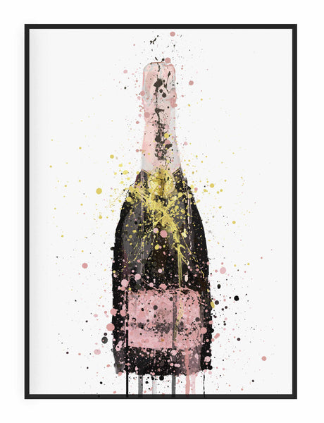 Champagne Bottle Wall Art Print 'Pink'