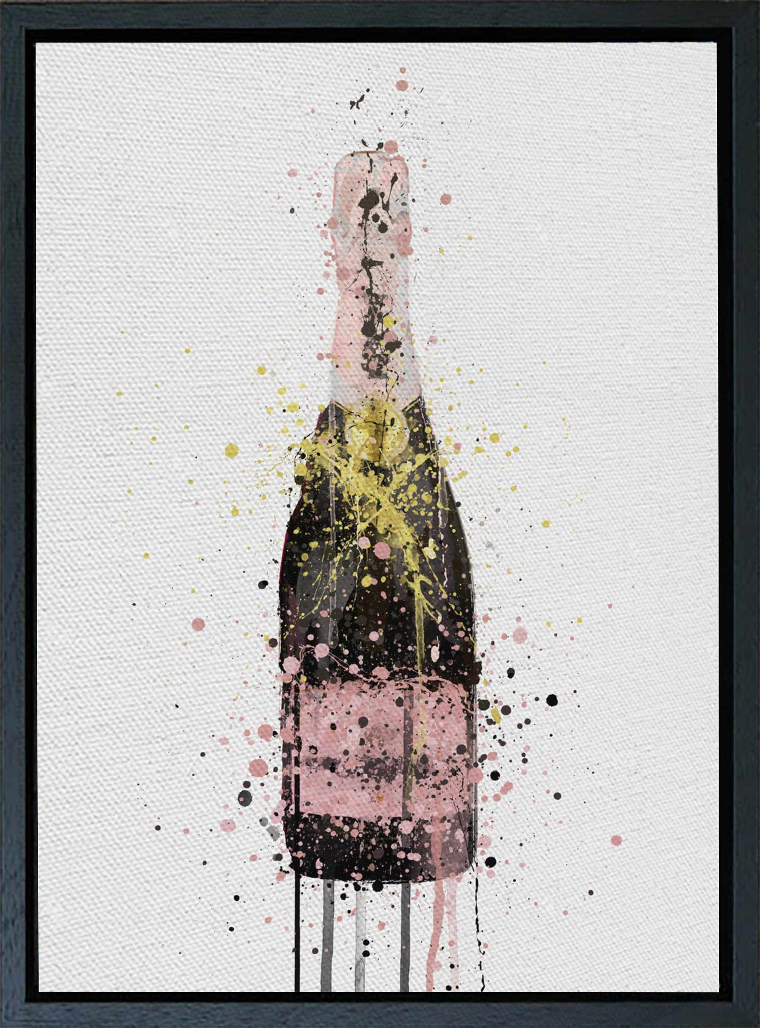 Premium Canvas Wall Art Print Champagne Bottle 'Pink'-We Love Prints