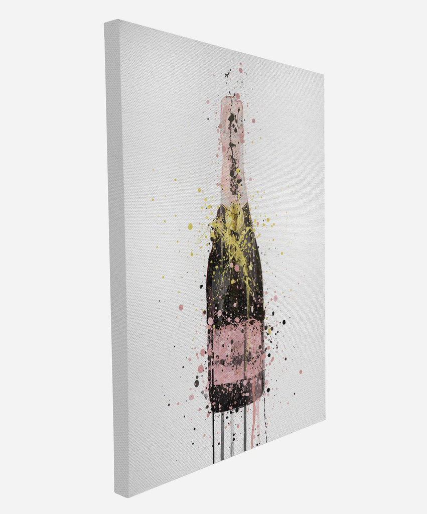 Premium Canvas Wall Art Print Champagne Bottle 'Pink' – We