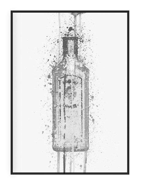 Gin Bottle Wall Art 'Ocean Blue' (Grey Edition)-We Love Prints