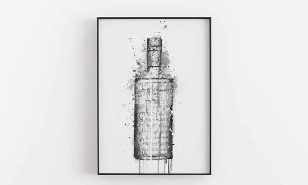 Gin Bottle Wall Art 'Steel Grey' (Grey Edition)-We Love Prints