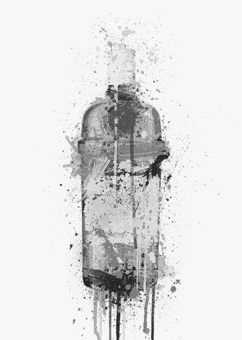 Gin Bottle Wall Art Print 'Emerald' (Grey Edition)-We Love Prints