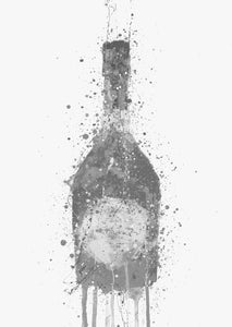 Champagne Bottle Wall Art Print 'Rosy' (Grey Edition)-We Love Prints