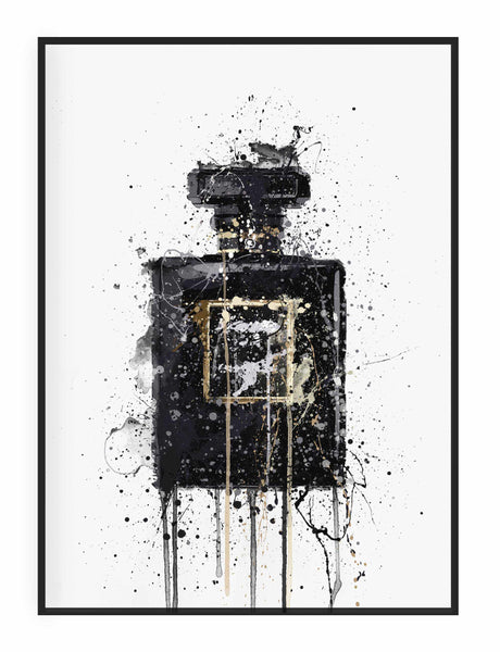 Fragrance Bottle Wall Art Print 'Midnight Black'