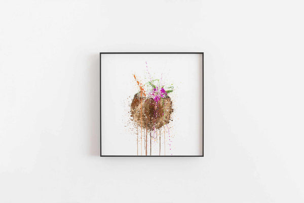 Coconut Colada Cocktail Wall Art Print-We Love Prints