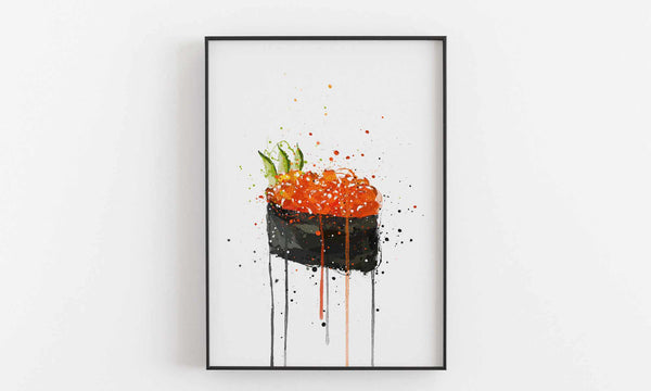Sushi Wall Art Print 'Red Caviar Gunkan'-We Love Prints