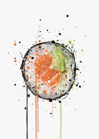 Sushi Wall Art Print 'Tekkamaki Salmon Sushi Roll'-We Love Prints