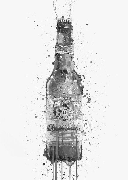 Beer Bottle Wall Art Print 'Amber' (Grey Edition)-We Love Prints