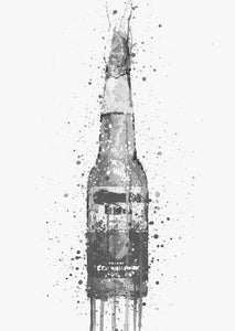 Beer Bottle Wall Art Print 'Lime' (Grey Edition)-We Love Prints