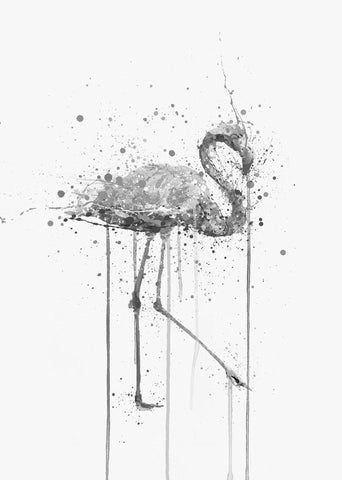 Pink Flamingo Wall Art Print (Grey Edition)-We Love Prints