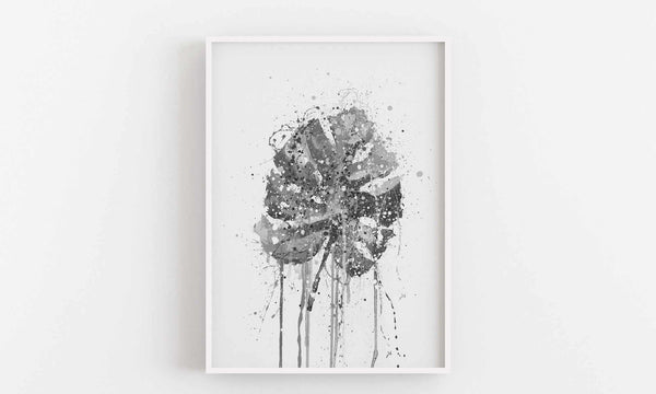 Monstera Leaf Wall Art Print (Grey Edition)-We Love Prints