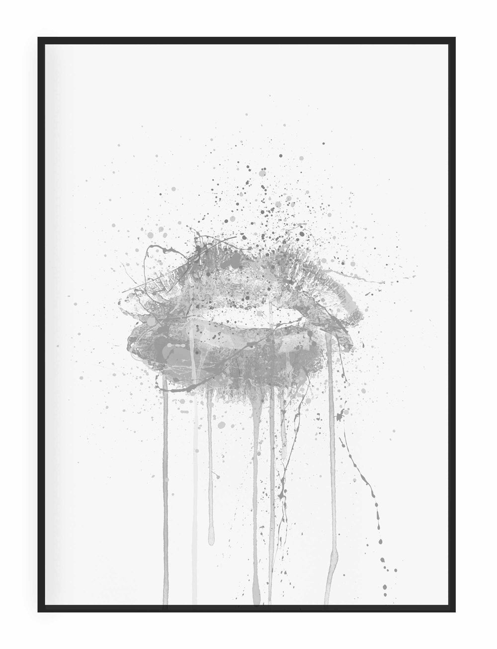 Kinda Sexy' Lips Wall Art Print (Grey Edition)-We Love Prints